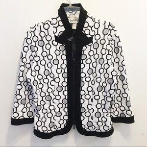 Joseph Ribkoff Black White 3/4 Sleeve Jacket